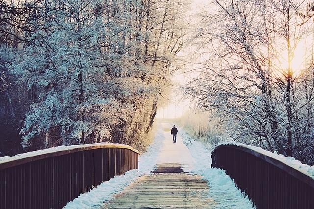 Person walking in winter