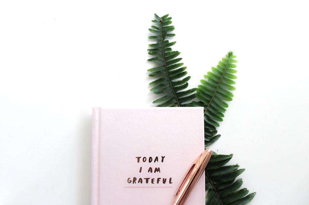 gratitude is one of the natural cures for anxiety. A picture of a gratitude book