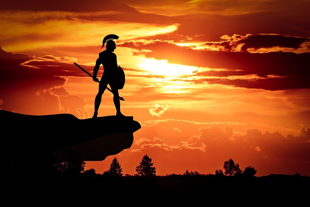 celebrities that were bullied had a spartan mindset. A picture of a spartan warrior with a sunset.