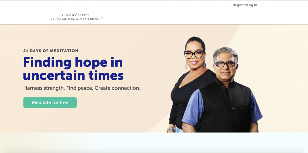 Free Guided Meditations With Deepak Chopra. Homepage Screenshot